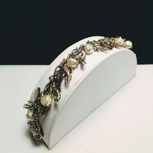 Vtg. Cherub Angel Charm Bracelet